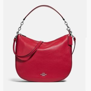 Coach Elle Hobo In Ruby Red Pebble Leather